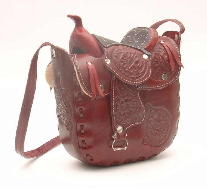 Leather Saddle Purse Wine 10 x 9 in